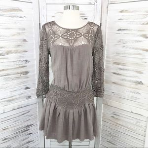 Free People / Taupe Long Sleeve Lace Tunic Dress 6
